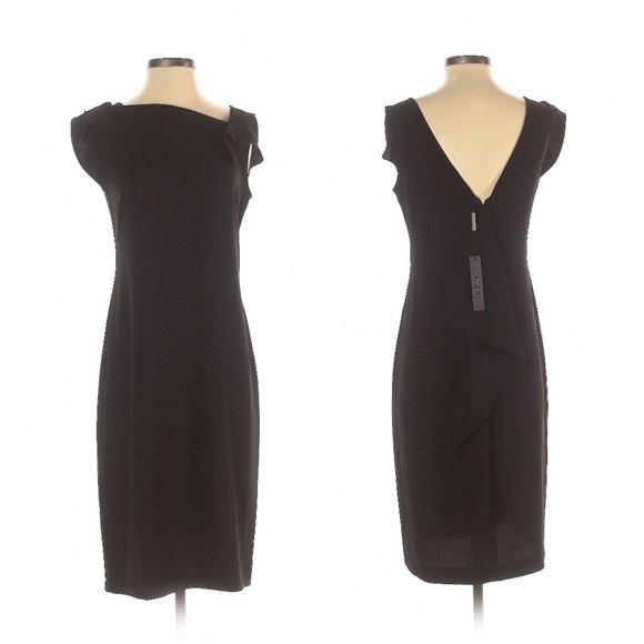 Tahari Black Cocktail Dress w/Waterfall NWT- Sz. 4
